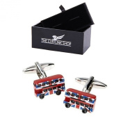 Men's Novelty Design Stainless Steel Red Double Decker London Bus with Union Jack Cufflinks with Luxury Gift Box