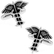 MFYS Doctor Caduceus Medical Symbol Jewellery Cufflinks for Men with a Presentation Gift Box