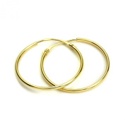 Light 9ct Gold 18mm Diameter Sleeper Hoop Earrings