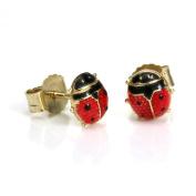 9ct Gold & Enamel Ladybird Stud Earrings