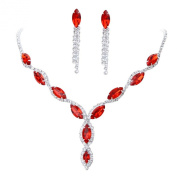 YAZILIND Women Wedding Jewellery bright red Crystal Rhinestone Droplets Necklace Earrings Party Set