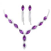 YAZILIND Women Wedding Jewellery Deep purple Crystal Rhinestone Droplets Necklace Earrings Party Set