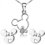 findout sterling silver hollow Mickey Mouse Cute pendant necklace + earrings set .for women girls .