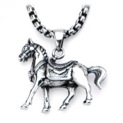 INOX Stainless Steel Chunky Horse Pendant Necklace