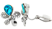 CLIP ON Earrings Ladies Studs Silver Plated Crystal Flower Turquoise Womens Girls CZ