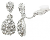 Drop CLIP ON Earrings Silver Plated Crystal Drop Dangle Womens Girls CZ Gatsby Ladies