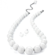Pure white colour graduated bead choker necklace earring costume jewellery set