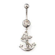 Ecloud Shop 316L Steel Rhinestone Anchor Dangle Navel Belly Barbell Ring Bar 4.6cm