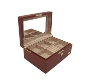 """Cordays Jewellery Box """"Premium Quality"""" Hand Crafted with Wood covered with Cognac Smooth Soft Leatherette with Full Width Mirror CDL-10045"""