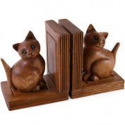 Pair Of Adorable cat Bookends Solid Acacia Wood Hand Carved Gift