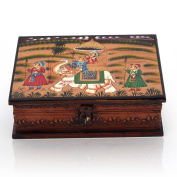 Little India Wooden Hand Painted Dhola Maru Jewellery Box White