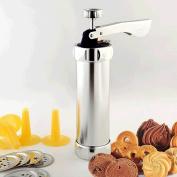 Clest F & H 20 Piece Cookie Press Machine Biscuits Press Machine Baking Decorating Kitchen Tools Biscuit Maker Set Good Quality Silver