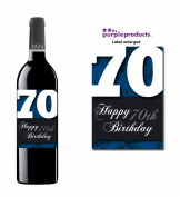 Blue Happy 70th Birthday Glossy Wine bottle label Celebration Gift for Women and Men.