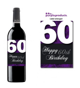 Purple Happy 60th Birthday Glossy Wine bottle label Celebration Gift for Women and Men.