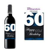 Blue Happy 60th Birthday Glossy Wine bottle label Celebration Gift for Women and Men.