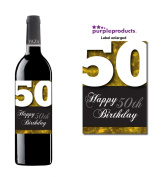 Gold Happy 50th Birthday Glossy Wine bottle label Celebration Gift for Women and Men.