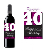 Pink Happy 40th Birthday Glossy Wine bottle label Celebration Gift for Women and Men.