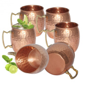 Prisha India Moscow Mule Solid Copper Mug 550 ML / 18 oz - Set of 6 - 100% Pure Copper Hammered Best Quality Lacquered Finish