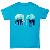 Twisted Envy Girl's Blue Elephants Organic Cotton T-Shirt