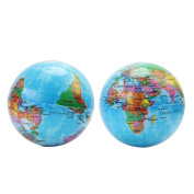 2Pcs Kids Geography World Map Foam Earth Globe Stress Relief Bouncy Ball Toys