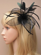 Allsorts® Black Feather Beak Clip Fascinator Brooch Pin Ladies Day Royal Ascot Weddings