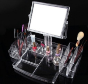 HQdeal X-large Acrylic Cosmetic Organiser Makup Holder Display Rack with Makeup Mirror