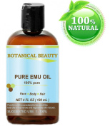 PURE EMU Oil, 100% Pure, 4 oz-120 ml. For Face, Hair, Body and Nails. Great for Dermatitis, Psoriasis, Eczema, Brittle Nails, Dry Hair & Scalp, Burns, Pain, Stretch Marks, Rosacea, Cuts, Scars, Anti- Ageing and More! by Botanical Beauty