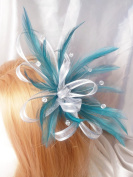 Teal Feathers, Silver Ribbon & Crystals Hair Wedding Races Fascinator Comb
