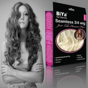 BiYa Hair Elements Thermatt Clip In Half 3/4 Wig Hair Extensions Curly, Pale Blonde Number 613 50cm