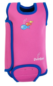 TWS 6-12 months Pink/Blue baby wetsuit, baby warmer wet suit - keeps baby warm in the pool or at beach