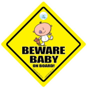 Beware Baby On Board Car Sign, Baby on Board Car Sign, Grandchild On Board Car Sign, Baby Car Sign, Decal, Joke Car Sign, Funny Car Sign, Child On Board, Baby On Board Sign, Toddler Car Sign, Baby On Board, Baby Sign, Unisex Baby on Board, Grandchild O ..