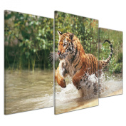 """Bilderdepot24 Wall Art - Canvas Picture """"Tiger Leaping"""" - 100cm x 60cm 3 pieces - Gallery wrapped, directly from the manufacturer"""