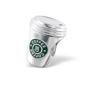 Silvadore - Silver Bead - Starbucks Style Coffee Cup Bead - 925 Sterling Charm 3D Slide On - Fits Pandora European Bracelet.