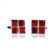 Ribbed Four Piece Red Enamel Square Silver Cufflinks with Presentation Box