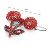 Glamorousky Cherry Hair Clip in Red. Element Crystals