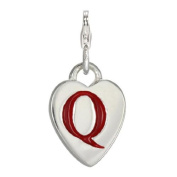 TheCharmWorks Sterling Silver Enamel Heart Alphabet Letter A - Z Charm on Clip