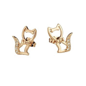 Italian Style Rose Gold Plated Cats Stud Earrings