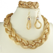 Women's gold mesh bracelet, earring & necklace woven plaited fashion jewellery set