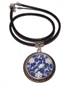 Blue and White Altered Image Glass and Silver Pendant (4x4cm) on a Black Leather Choker Necklace
