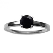5mm Round Faceted Genuine Black Spinel 925 Sterling Silver Ring Size P