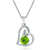 Pugster Sale Heart Clear Green Birthstone Crystal Pendant Necklace For Women Mum Girlfriend Gifts