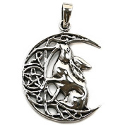 Solid Sterling Silver Moon Gazing Hare Pentagram Pendant P067