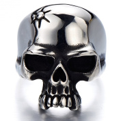 Stainless Steel Mens Gothic Biker Jewellery Skull Ring Oxidised Black 29mm Size 9 to 13.5