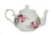 A- Bone China 470ml/ 2 CUP Teapot - PINK SUMMERTIME ROSE Kirsty Jayne China- Hand decorated in the Potteries, Staffordshire, England.