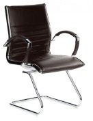 hjh OFFICE Leather Conference/Cantilever Chair - Brown/Chrome