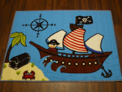 Non Slip Kids Pirate Playmat / Rug 80cm x 110cm