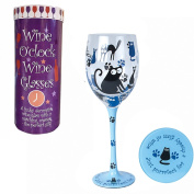 Wine o clock Wine Glass and Coaster - Cats