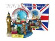 A 3D Collage Snow Globe Detailing London Landmarks Big Ben, Tower Bridge etc., Medium, Collectable Souvenir - 1094