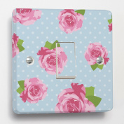 Blue Shabby Chic Rose Light Switch Sticker skin for Crabtree 4070 1 Way 1 Gang