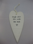 NEW! East of India 2032 White Porcelain Hanging Heart Live Well